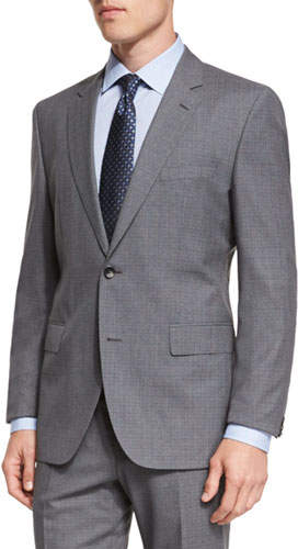 Hugo BossHugo Boss Johnstons Lennon Melange Plaid Slim-Fit Basic Suit, Gray