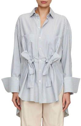Palmer Harding Palmer//Harding Tie-Front Button-Front Striped Cotton Boyfriend Shirt