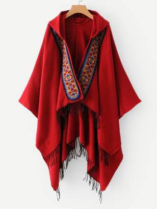 Shein Fringe Hem Hooded Cardigan