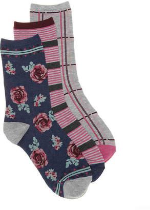 Lucky Brand Rose Crew Socks - 3 Pack - Women's