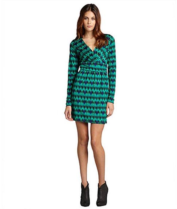 Julie Brown JB by green tie-dye print jersey 'Allison' long sleeve dress