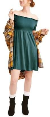 Eye Candy Juniors' Raglan Short Sleeve Smocked Scoop Neck Dress