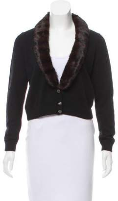 Les Copains Fur Trimmed Wool-Blend Cardigan