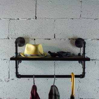 OS Home and Office Model P27-BS 27 inch Decorate Pipe Shelf and Clothes Rack with Reclaimed-Aged Wood Finish.