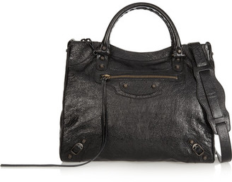 Balenciaga - Velo Textured-leather Shoulder Bag - Black $1,835 thestylecure.com