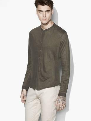 John Varvatos Linen Band-Collar Shirt