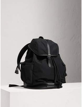 Burberry Leather Trim Baby Changing Rucksack, Black