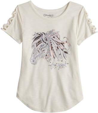 Mudd Girls 7-16 & Plus Size Strappy Graphic Tee