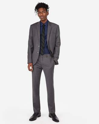 Express Extra Slim Gray Flannel Wool-Blend 365-Comfort Suit Pant