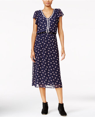 Maison Jules Printed Crochet-Trim Midi Dress, Only at Macy's $79.50 thestylecure.com
