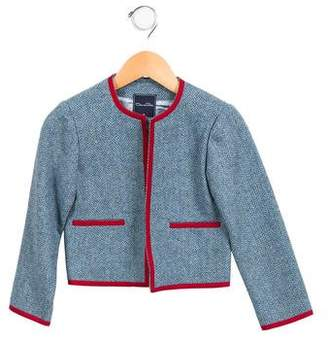 Oscar de la Renta Girls' Tweed Grosgrain-Trimmed Jacket