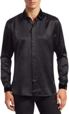 Saint Laurent Velvet Collar Silk Shirt