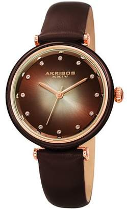 Akribos XXIV Black Casual Quartz Watch With Leather Strap [AK1035BK]