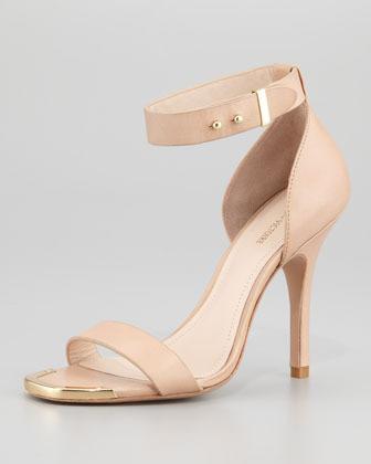 Pour La Victoire Yaya Leather Ankle-Wrap Sandal