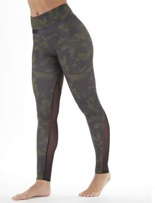 Bally Total Fitness Women's Active Jolt High Rise Allover Camo Print Legging With Mesh Insert