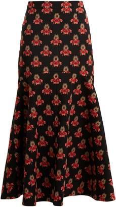 Temperley London Jupiter flared floral-jacquard midi skirt