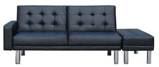 Futon 3 Seater Faux Leather Sofa Bed with Ottoman