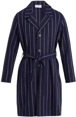 ÉDITIONS M.R Notch-lapel striped linen-blend overcoat
