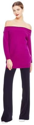 Lela Rose Contrast Detail Off The Shoulder Knit