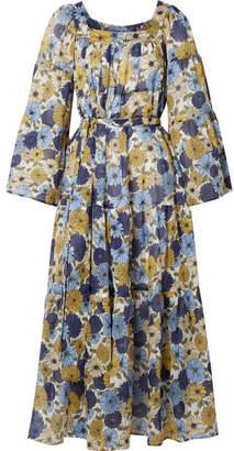 Lisa Marie Fernandez Floral-print Cotton-voile Dress - Blue