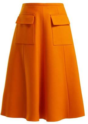 Rochas - Virgin Wool Blend Skirt - Womens - Orange