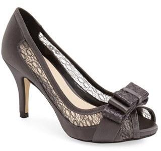 Menbur 'Liatris' Lace Inset Bow Peep Toe Pump (Women) $197.60 thestylecure.com
