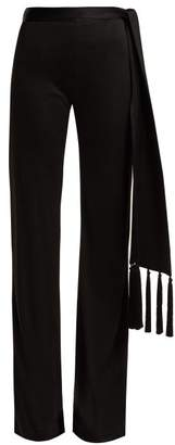 Galvan - Vesper Tassel Belt Flared Trousers - Womens - Black