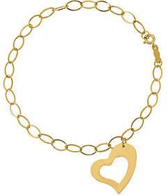 QVC 14K Oval Link with Heart Dangle Bracelet, 1.0g