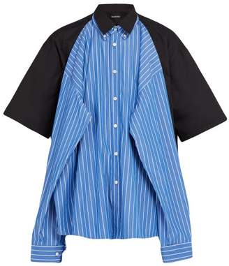 Balenciaga Double Layered Convertible Shirt - Mens - Blue