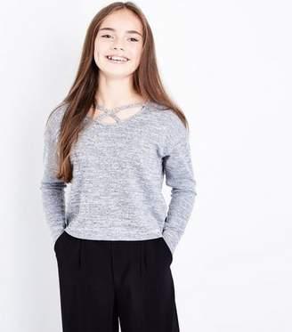 New Look Teens Grey Lattice Neck Fine Knit Top