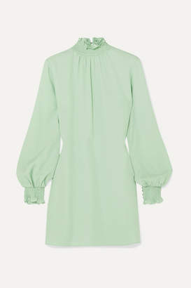 Les Héroïnes The C.j. Shirred Crepe Mini Dress - Mint