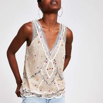 River Island Womens Cream sequin vest