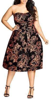 City Chic Plus Floral Outline Dress