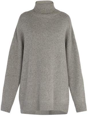 Raey Displaced Sleeve Roll Neck Wool Sweater - Mens - Grey