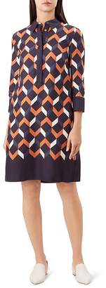 Hobbs London Aubery Geometric Print Shirt Dress