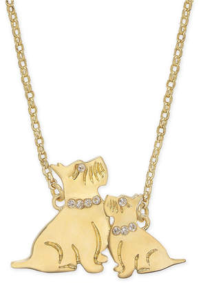 "Kate Spade Gold-Tone Pave Dog Pendant Necklace, 17"" + 3"" extender"