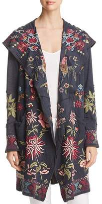 Johnny Was Khan Embroidered Hooded Duster Cardigan