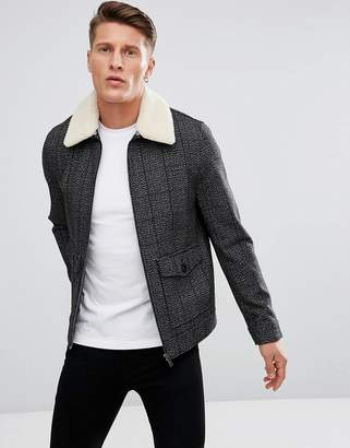 Stanley Adams Check Wool Aviator with Borg Collar