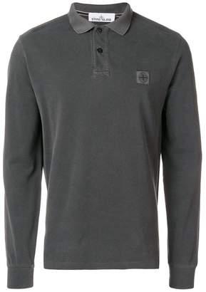 Stone Island logo patch long sleeve polo shirt