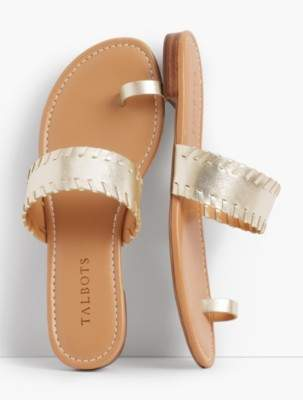 Talbots Gia Toe-Ring Sandals-Metallic Leather