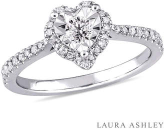 Laura Ashley MODERN BRIDE Laura Asley Womens 1/3 CT. T.W. Genuine White Diamond Sterling Silver Engagement Ring
