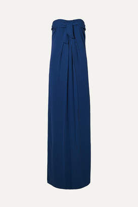 Halston Strapless Tie-front Striped Crepe Gown - Blue