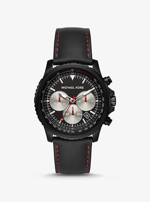 Michael Kors Theroux Black-Tone And Leather Watch