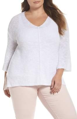Caslon Hidden Snap V-Neck Sweater (Plus Size)