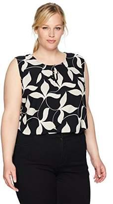 Kasper Women's Size Plus Printed TRI Petal ITY CAMI