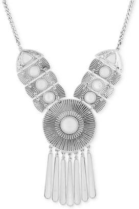 """Lucky Brand Silver-Tone Medallion Statement Necklace, 17"""" + 2"""" extender"""