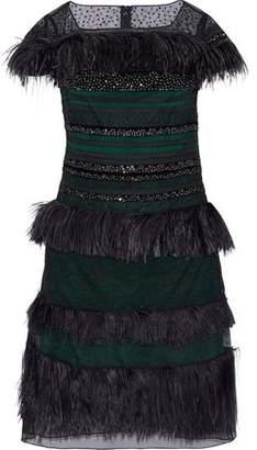 Carolina Herrera Embellished Paneled Lace Mesh And Organza Dress