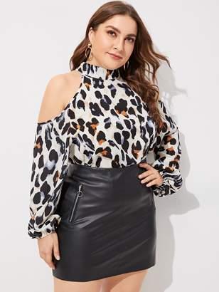 20832a1451749d Shein Plus Cold-shoulder Leopard Print Blouse