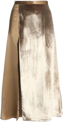 Mason by Michelle Mason Split-front Paneled Velvet And Silk-satin Midi Skirt