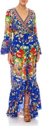 Camilla Playing Koi Bell-Sleeve Printed Wrap Maxi Dress